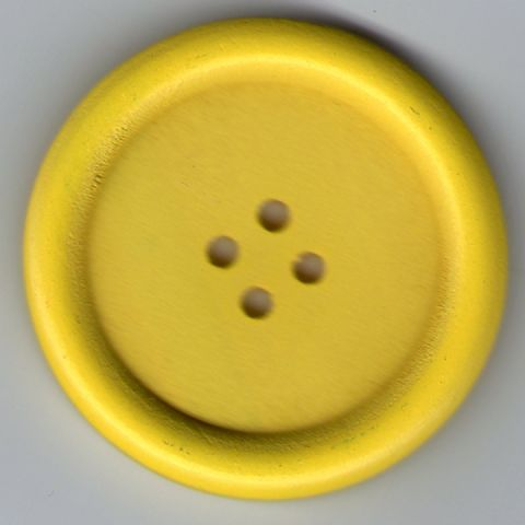 Painted Wooden 4 hole Button - Yellow 40mm